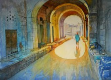Cityscape Watercolor Art Painting title 'Old Bhopal' by artist Bijay Biswaal