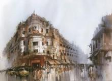 Cityscape Watercolor Art Painting title 'Old Calcutta' by artist Bijay Biswaal