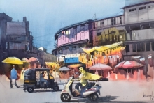Cityscape Watercolor Art Painting title 'Old Puna' by artist Bijay Biswaal