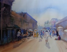 Cityscape Watercolor Art Painting title 'Other Side Of Puri' by artist Bijay Biswaal