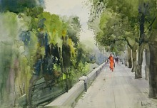 Nature Watercolor Art Painting title 'Pathway' by artist Bijay Biswaal