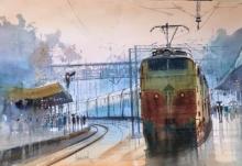 Bijay Biswaal | Watercolor Painting title Platform 2 on Paper | Artist Bijay Biswaal Gallery | ArtZolo.com