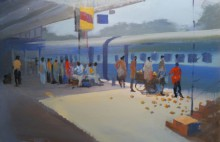 Bijay Biswaal | Acrylic Painting title Platform No.3 Nagpur on Paper