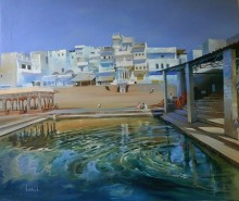 Cityscape Oil Art Painting title 'Pushkar' by artist Bijay Biswaal