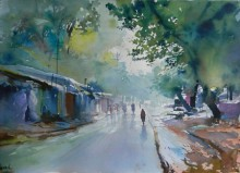 Nature Watercolor Art Painting title Rain by artist Bijay Biswaal