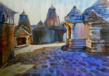 Cityscape Watercolor Art Painting title Ramtek Temple by artist Bijay Biswaal