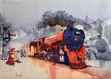 Cityscape Watercolor Art Painting title 'Red Steam Loco' by artist Bijay Biswaal