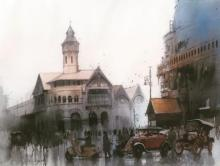 Cityscape Watercolor Art Painting title Retro Calcutta by artist Bijay Biswaal