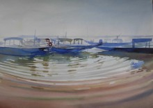 Cityscape Watercolor Art Painting title Ripples In The Water by artist Bijay Biswaal