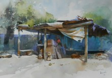 Cityscape Watercolor Art Painting title 'Roadside Stall' by artist Bijay Biswaal