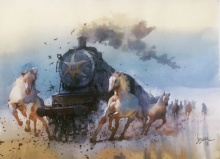 Animals Watercolor Art Painting title 'Running Horse And Engine' by artist Bijay Biswaal