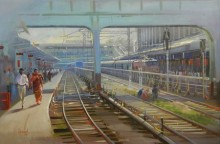 Bijay Biswaal | Acrylic Painting title Rush Hour on Canvas
