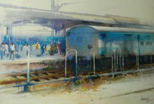 Cityscape Watercolor Art Painting title Rush Hour V by artist Bijay Biswaal
