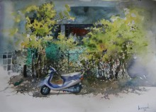 Cityscape Watercolor Art Painting title Scooter Ouside Home by artist Bijay Biswaal