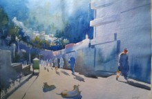 Cityscape Watercolor Art Painting title Simla Morning by artist Bijay Biswaal