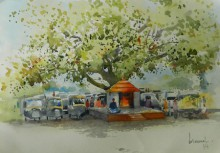 Bijay Biswaal | Watercolor Painting title Small Temple Under The Tree on Paper