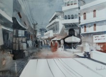 Bijay Biswaal | Watercolor Painting title Small Town on Paper