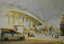 Cityscape Watercolor Art Painting title Stadium by artist Bijay Biswaal