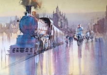 Cityscape Watercolor Art Painting title 'Steam Engine 1' by artist Bijay Biswaal