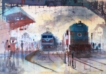 Cityscape Watercolor Art Painting title 'Steam Engine 2' by artist Bijay Biswaal