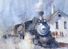 Cityscape Watercolor Art Painting title Steam Loco by artist Bijay Biswaal