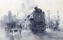 Cityscape Watercolor Art Painting title Steam Loco Vintage by artist Bijay Biswaal