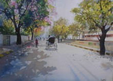 Cityscape Watercolor Art Painting title 'Summer Evening' by artist Bijay Biswaal