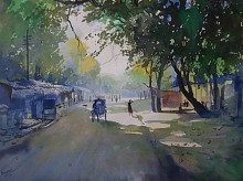 Cityscape Watercolor Art Painting title 'Sunshine' by artist Bijay Biswaal