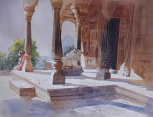 Cityscape Watercolor Art Painting title 'Temple Courtyard' by artist Bijay Biswaal
