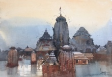Cityscape Watercolor Art Painting title 'Temple Town Odisha' by artist Bijay Biswaal