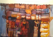 Cityscape Watercolor Art Painting title 'The Bag House' by artist Bijay Biswaal