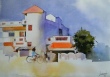 Cityscape Watercolor Art Painting title The House With A Orange Cap by artist Bijay Biswaal