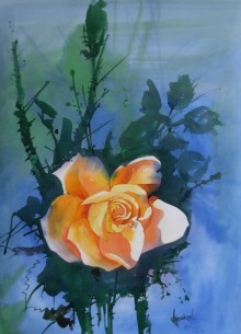 Photorealistic Watercolor Art Painting title 'The Rose' by artist Bijay Biswaal