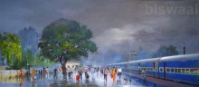 Cityscape Acrylic Art Painting title 'The Wide Wet Platform' by artist Bijay Biswaal