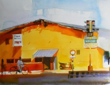 Bijay Biswaal | Watercolor Painting title The Yellow Building on Paper