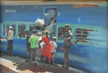 Bijay Biswaal | Watercolor Painting title Train Rush on Paper