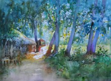 Bijay Biswaal | Watercolor Painting title Village Home on Paper
