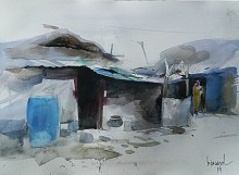 Cityscape Watercolor Art Painting title 'Village III' by artist Bijay Biswaal