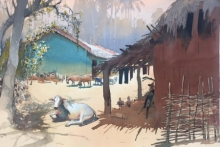 Landscape Watercolor Art Painting title Village Series 2 by artist Bijay Biswaal