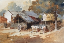 Landscape Watercolor Art Painting title Village Series 6 by artist Bijay Biswaal