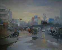Bijay Biswaal | Acrylic Painting title Wet Nagpur on Canvas