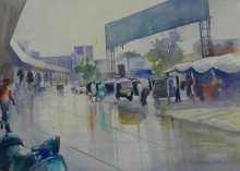 Cityscape Watercolor Art Painting title Wet Nagpur by artist Bijay Biswaal