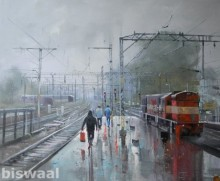 Bijay Biswaal | Acrylic Painting title Wet Platform Pune on Canvas