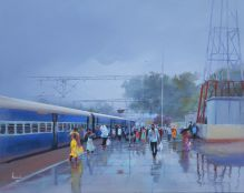 Bijay Biswaal | Acrylic Painting title Wet Platform - Rajnandgaon on Canvas