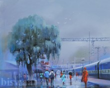 Wet Platform V | Painting by artist Bijay Biswaal | acrylic | Canvas