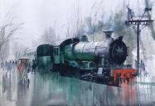 Cityscape Watercolor Art Painting title 'Wet Platform 21' by artist Bijay Biswaal