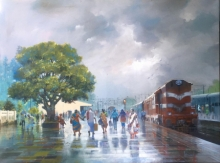 Cityscape Acrylic Art Painting title 'Wet Platform 32' by artist Bijay Biswaal