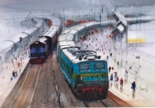 Cityscape Watercolor Art Painting title Wet Platform 35 by artist Bijay Biswaal