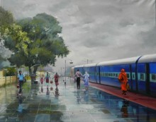 Bijay Biswaal | Acrylic Painting title Wet Platform Korba on Canvas