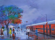 Cityscape Acrylic Art Painting title 'Wet Platform Red' by artist Bijay Biswaal